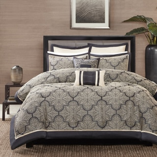 Madison Park Burton Black Jacquard 8-piece Comforter Set