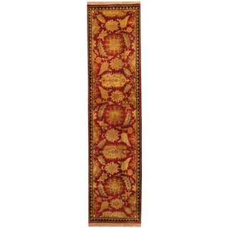 Herat Oriental Indo Hand-knotted William Morris Red/ Black Wool Runner (2'6 x 10'2)