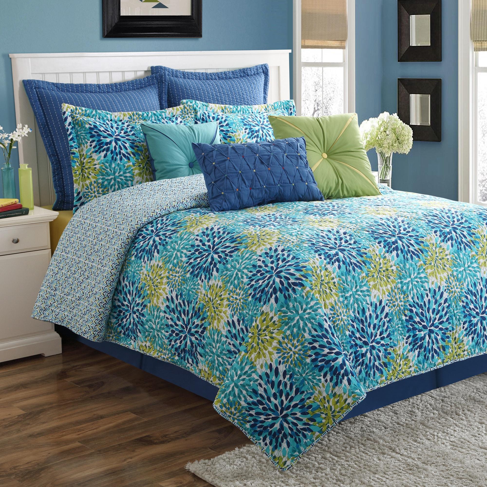 Fiesta Calypso Garden Cotton Quilt Set (King), Blue