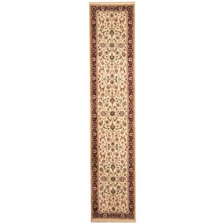 Herat Oriental Indo Hand-knotted Kashan Ivory/ Red Wool Runner (2'7 x 12')
