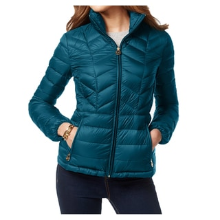 Michael Michael Kors Teal Chevron Quilted Packable Coat