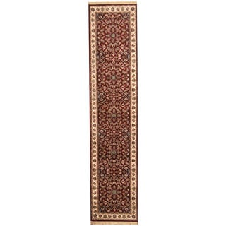 Herat Oriental Indo Hand-knotted Kashan Red/ Ivory Wool Runner (2'8 x 12')