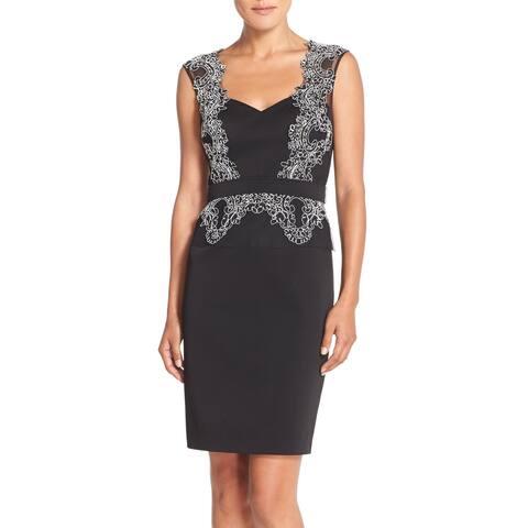 Aidan Mattox Black Lace Embroidered Dress