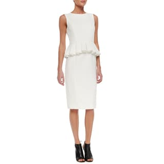 Badgley Mischka White Peplum Dress