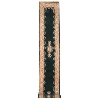 Herat Oriental Indo Hand-knotted Kerman Green/ Ivory Wool Runner (2'6 x 17'7)