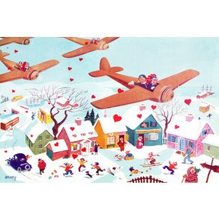 Marmont Hill 'Planes and Hearts' by Curtis Painting Print on Canvas