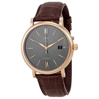 IWC Men's IW356511 'Portofino' Automatic Brown Leather Watch