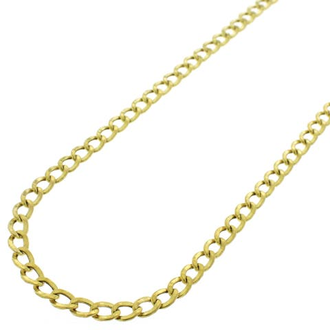 """10k Yellow Gold 3.5mm Hollow Cuban Curb Link Necklace Chain 16"""" - 24"""""""