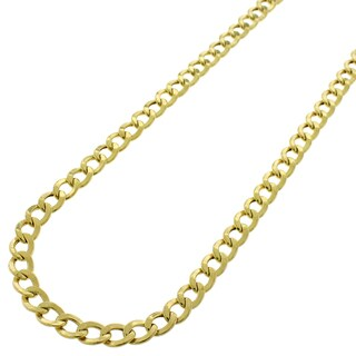 10k Gold 4mm Hollow Cuban Curb Link Necklace