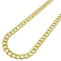"""10k Yellow Gold 6.5mm Hollow Cuban Curb Link Necklace Chain 20"""" - 26"""""""