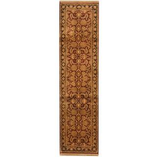 Herat Oriental Indo Hand-knotted Khorasan Red/ Black Wool Runner (2'7 x 10')