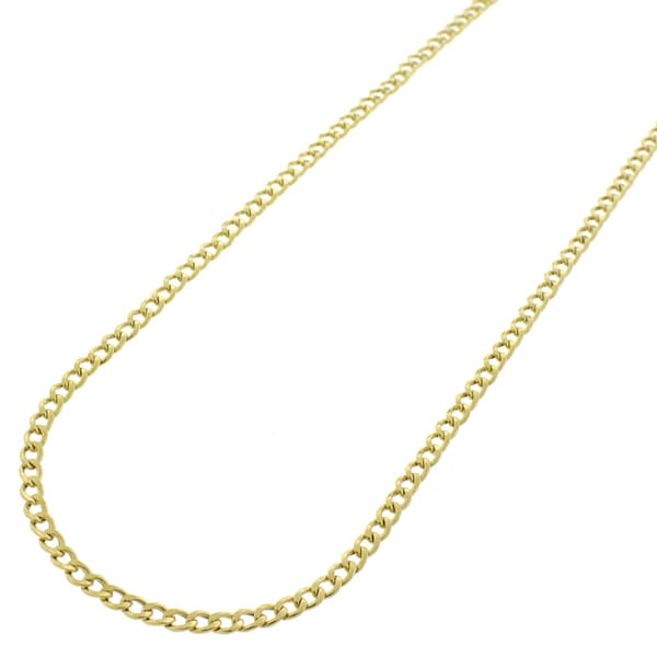 "10k Yellow Gold 2mm Hollow Cuban Curb Link Necklace Chain 16"" - 20"""