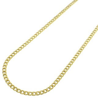 "10k Yellow Gold 2.5mm Hollow Cuban Curb Link Necklace Chain 16"" - 26"""