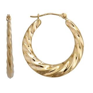 Decadence 14k Yellow Gold High Polished Swirl Hoop Earrings