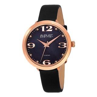 August Steiner Women's Quartz Mother of Pearl Diamond Leather Strap Watch