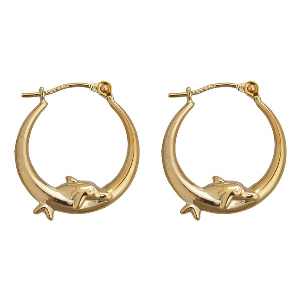 Decadence 14k Yellow Gold Dancing Dolphin Hoop Earring