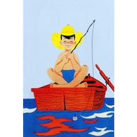Marmont Hill 'Fishing Alone' by Curtis Painting Print on Canvas - Multi-color