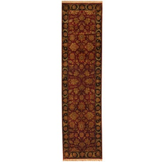 Herat Oriental Indo Hand-knotted Kashan Red/ Black Wool Runner (2'6 x 10')