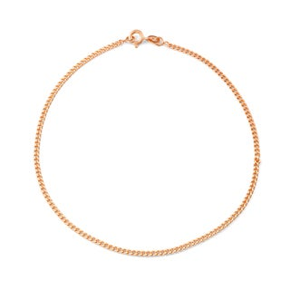 Gioelli Rose Gold over Silver Curb Chain Anklet