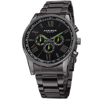 Akribos XXIV Men's Multifunction Swiss Quartz Tachymeter Stainless Steel Bracelet Watch - grey