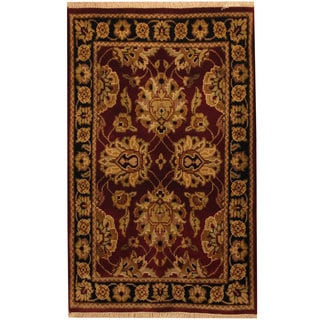 Herat Oriental Indo Hand-knotted Khorasan Red/ Black Wool Rug (2'6 x 4')