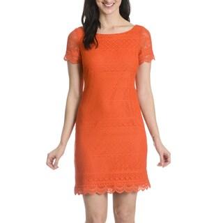 London Times Women's Crochet Dress in Orange
