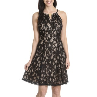 London Times Women's Crochet Keyhole Neckline Dress