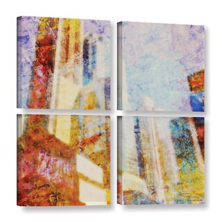 Joost Hogervorst 'City Collage - New York 1' 4-piece Gallery Wrapped Canvas Square Set - multi