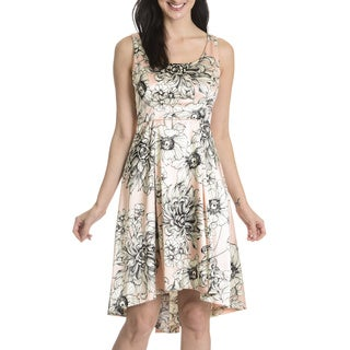 London Times Women's Blossom Print Fit and Flare Dress