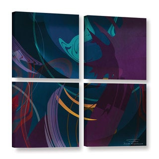 Joost Hogervorst 'Abstract Twirl 01 ' 4-piece Gallery Wrapped Canvas Square Set