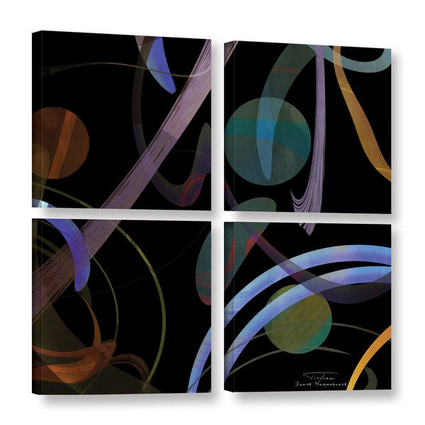 Joost Hogervorst 'Abstract Twirl 02' 4-piece Gallery Wrapped Canvas Square Set