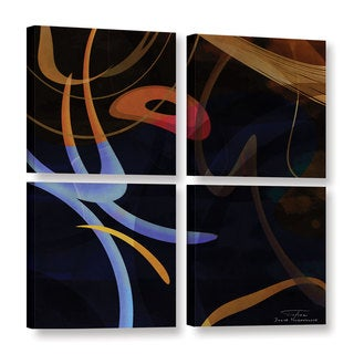 Joost Hogervorst 'Abstract Twirl 03' 4-piece Gallery Wrapped Canvas Square Set