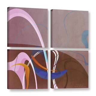Joost Hogervorst 'Abstract Twirl 06' 4-piece Gallery Wrapped Canvas Square Set