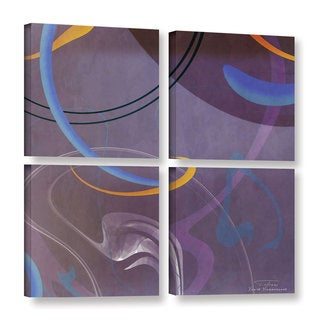 Joost Hogervorst 'Abstract Twirl 07 II' 4-piece Gallery Wrapped Canvas Square Set