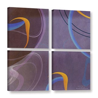 Joost Hogervorst 'Abstract Twirl 07' 4-piece Gallery Wrapped Canvas Square Set