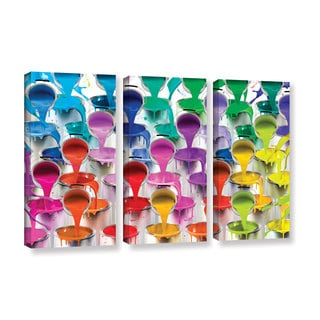 Alison Lee 'Paint Bucket Waterfall' 3-piece Gallery Wrapped Canvas Set