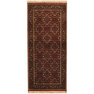 Herat Oriental Indo Hand-knotted Bidjar Red/ Black Wool Runner (2'7 x 6')