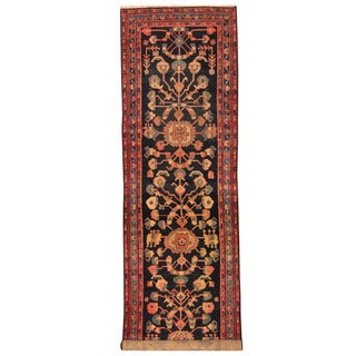 Herat Oriental Persian Hand-knotted 1920s Antique Malayer Navy/ Blue Wool Runner (3'7 x 13'5)