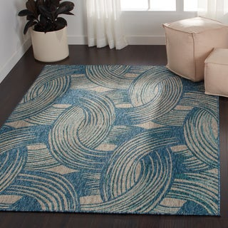 Indoor/ Outdoor Hudson Blue/ Teal Rug (5'3 x 7'7)