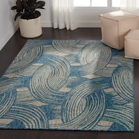 Indoor/ Outdoor Hudson Blue/ Teal Rug - 5'3 x 7'7