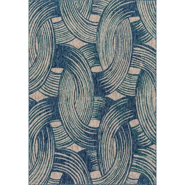 Indoor/ Outdoor Hudson Blue/ Teal Rug - 7'10 x 10'9