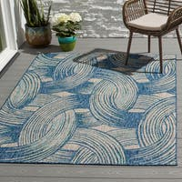 Indoor/ Outdoor Hudson Blue/ Grey Abstract Patio Rug - 9'2 x 12'1