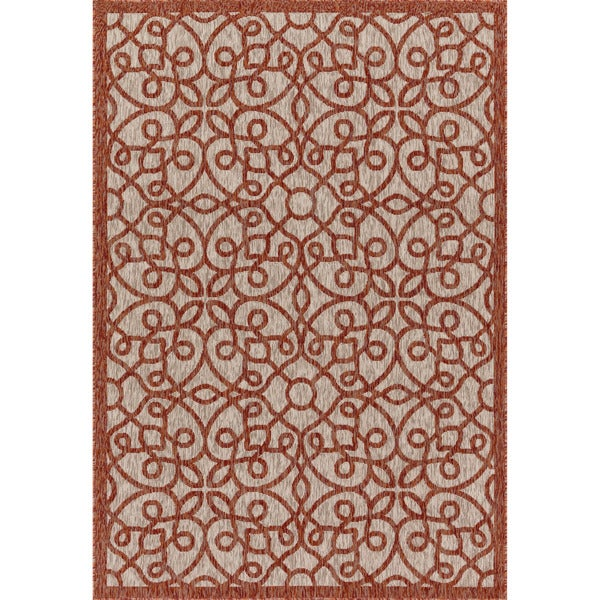 Indoor/ Outdoor Hudson Grey/ Spice Rug - 7'10 x 10'9
