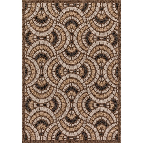 Indoor/ Outdoor Hudson Sand/ Multi Rug - 9'2 x 12'