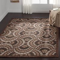 "Indoor/ Outdoor Brown/ Grey Mid-century Geometric Patio Rug - 9'2"" x 12'1"""