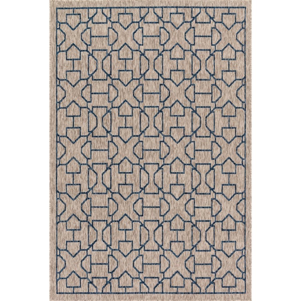 Indoor/ Outdoor Grey/ Blue Trellis Patio Rug - 9'2 x 12'1