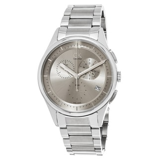 Calvin Klein Men's K2A27126 'Basic' Grey Dial Stainless Steel Chronograph Swiss Quartz Watch