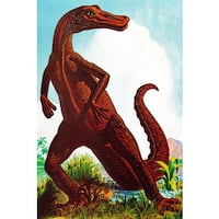 Marmont Hill 'Dinosaur' by Curtis Painting Print on Canvas - Multi-color