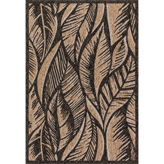 Indoor/ Outdoor Hudson Charcoal/ Sand Rug (3'11 x 5'10)