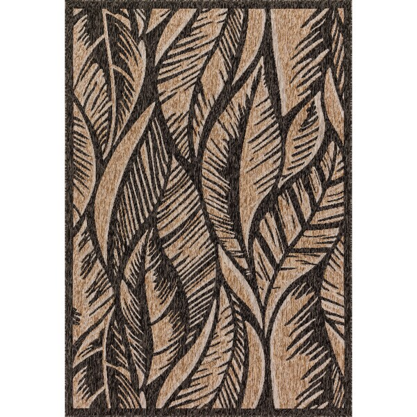 Indoor/ Outdoor Dark Grey/ Taupe Palm Leaf Patio Rug - 9'2 x 12'1